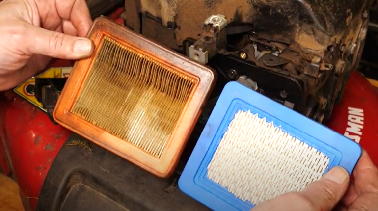 Side by side of a clean air filter versus a dirty air filter