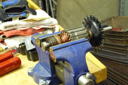 Armature Positioned in Vise