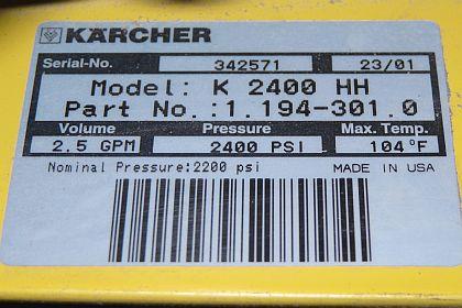 Karcher Model Number Plate