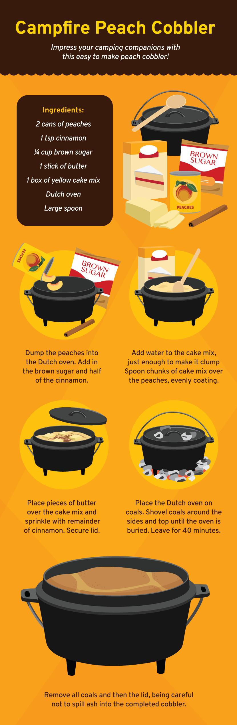 Campfire Peach Cobbler - Cooking on a Campfire